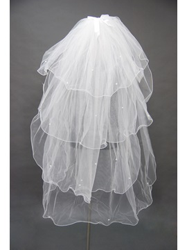 Exquisite Blusher Wedding Bridal Veil Finished Edge