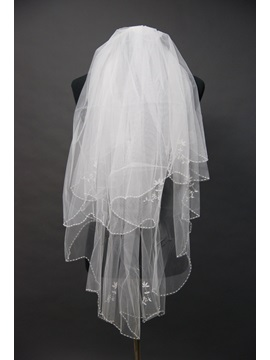 Exquisite Waterfall Style Blusher Wedding Bridal Veil With Beaded Edge
