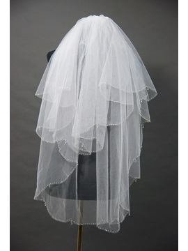 Smart Blusher Wedding Bridal Veil With Beaded Edge