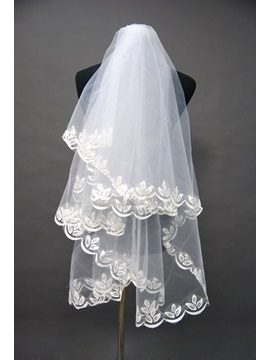 Attractive Waist Length Floral Edge Wedding Bridal Veil