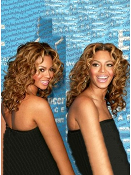 Custom Hand Tied 100 Human Hair Beyonce Hairstyle Curly Lace Wig 15 Inches