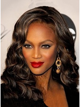 Custom Tyra Banks Hairstyle Hand Tied Long Curly Natural Lace Wig 16 Inches