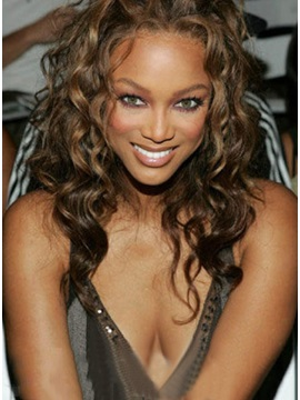 Custom Tyra Banks Hairstyle Hand Tied Lace Front Curly Wig About 15 Inches
