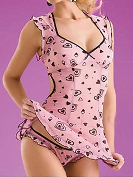 Attractive Pink Heart Spandex Women Babydoll 2184