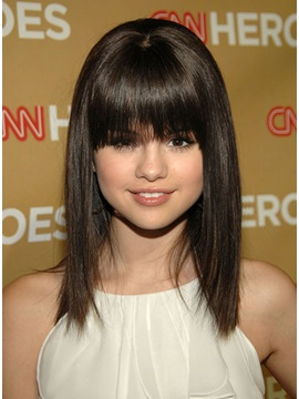 Custom Hand Tied 100 Human Hair Selena Gomez Hairstyle Wig 14 Inches