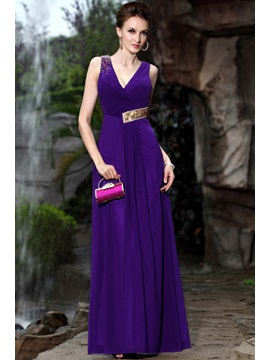 Glamorous V Neck A Line Sequins Beading Ruched Floor Length Evening Dress