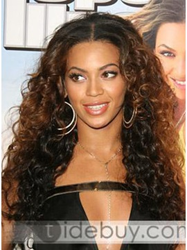 Custom Hand Tied 100 Human Hair Long Curly Beyonce Hairstyle Full Lace Wig About 20 Inches