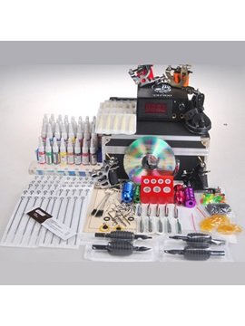 A Great Professional Tattoo Kit With 4 Guns 1 Lcd Power Supply And 40 Inks