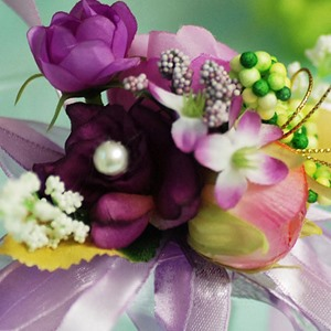 Gorgeous Purple Silk Cloth Wedding Bridal Wrist Corsage