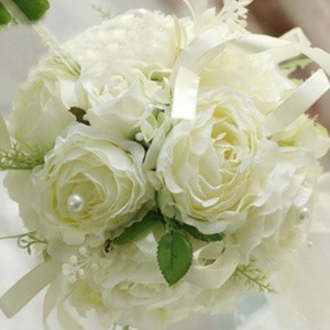 Chaste Green White Silk Cloth Wedding Bridal Bouquet