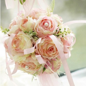 Lovely Soft Pink Silk Cloth Wedding Bouquet For Bride