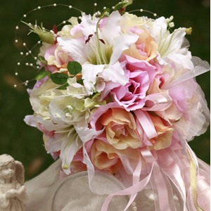 Colorful Pink And Orange Wedding Bridal Bouquet With White Lily