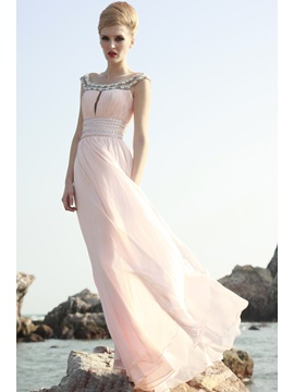 Amazing A Line Straps Beading Empire Waist Long Evening Dress