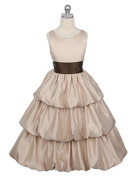 A Line Scoop Floor Length Tiered Flower Girl Dress With Sash