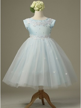 Amazing Ball Gown Tea Length Bateau Short Sleeve Appliques Flower Girl Dress