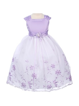 Ball Gown Floor Length Square Embroidery Bowknotflower Girl Dress