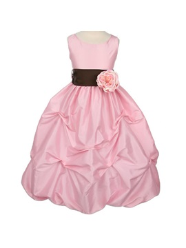 Ball Gown Floor Length Scoop Ruched Flower Embellishing Flower Girl Dress