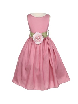 Round Neck A Line Tea Length Flower Embellishing Flower Girl Dress