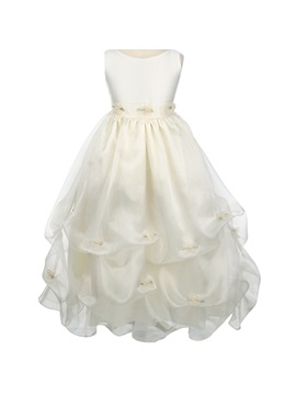 A Line Floor Length Bateau Ruched Appliques Embellshing Flower Girl Dress