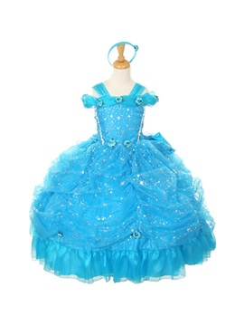 Amazing Straps Ball Gown Floor Length Ruched Flowers Sequins Flower Girl Dress
