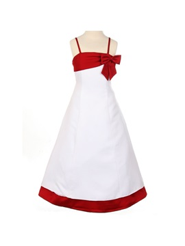 A Line Spaghetti Straps Floor Length Bowknot Flower Girl Dress