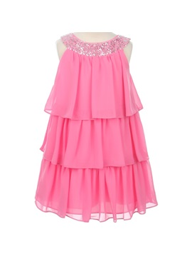 Amazing A Line Scoop Knee Length Tiered Sequins Flower Girl Dress