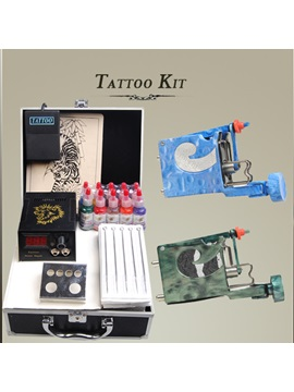 Complete Set Of Tattoo Kits 2 New Rotary Tattoo Machines Lcd Power Supply 50 Needles And 10 Inks