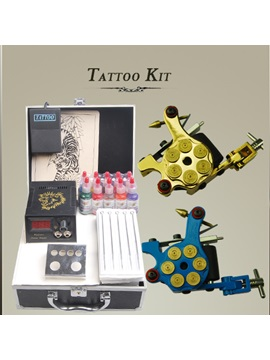Tattoo Kits For Starters With 2 New Guns Lcd Power Supply 50 Needles And 10 Inks