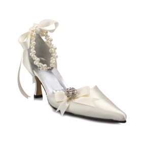 Grand Satin Upper High Heel Pumps Closed Toes With Rhinestone Wedding Shoes