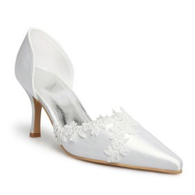 Honey White Upper Stiletto Heels Closed Toes Wedding Bridal Shoes With Lace