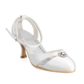 Mid Heel Closed Toes Wedding Bridal Shoes With Rhinestone