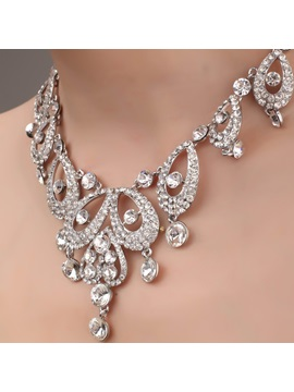 Delicate Heart And Waterdrop Shaped Alloy Necklace With Rhinestone Hc
