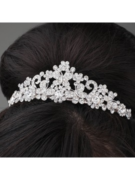 Cute Butterfly Shaped Alloy And Rhinestone Tiara Headpiece Hc