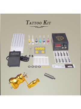 Tattoo Kit For Beginner With 1 Tattoo Machine 6 Color Inks Lcd Power Supply