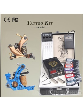 Compete Tattoo Kit With 2 Professional Tattoo Machine And A Lcd Power Supply And 15 Inks
