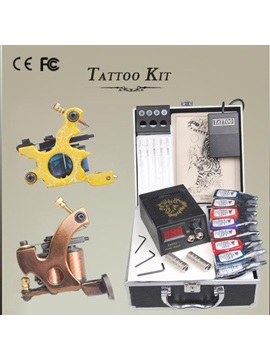 Compete Tattoo Kit With 2 High Quality Tattoo Machines Lcd Power Supply 15 Inks Set