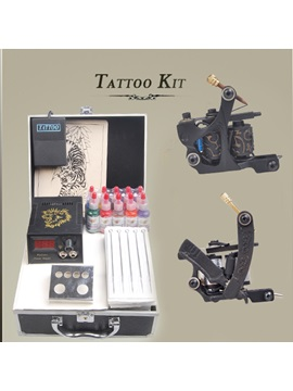 Tattoo Kits 2 Tattoo Machines Power Supply 50 Needles And 10 Inks For Beginner