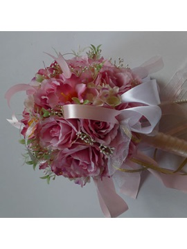 Rose Silk Cloth Wedding Bridal Bouquet With Pale Pink Ribbon
