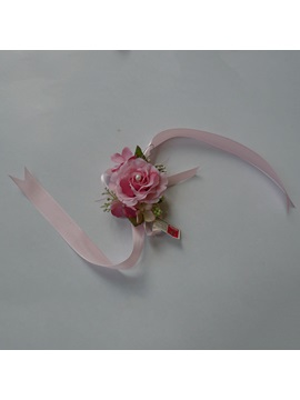 Rose Silk Cloth Wedding Wrist Corsage With Pink Ribbon