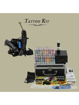 Complete Tattoo Kit Set With 1 Tattoo Machine And Lcd Power Supply 50 Needles 40 Inks