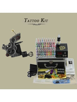 Complete Tattoo Kit Set With 1 Professional Tattoo Machine And Lcd Power Supply 50 Needles 40 Inks