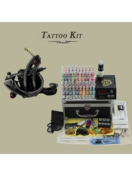 Complete Tattoo Kit Set With 1 Tattoo Machine Gun And Lcd Power Supply Needles