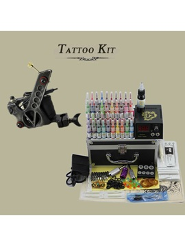 Complete Tattoo Kit Set With 1 Professional Tattoo Machine And Lcd Power Supply 50 Needles 40 Inksfor Beginners