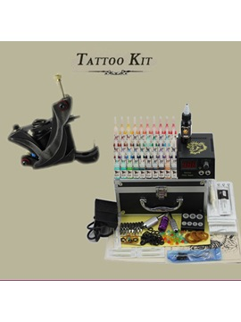 Tattoo Kit With 1 High Quality Tattoo Machine Lcd Power Supply 40 Inks 50 Needles For Starters
