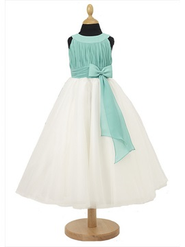 Glamorous A Line Scoop Bowknot Floor Length Flower Girl Dress