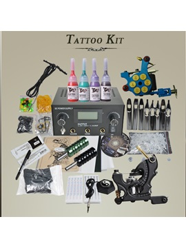 Complete Tattoo Kit 2 Tattoo Machine Guns For Starter Power Supply Tattoo Needles D189