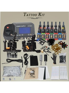 Complete Tattoo Kit With Tattoo Machines Gun Power Supply And Needles D201