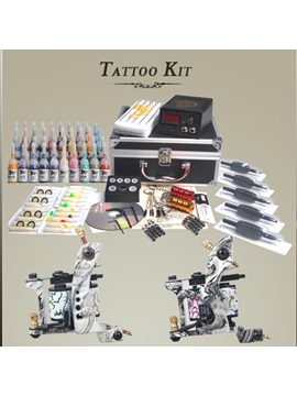Professional Cast Iron Tattoo Machine Kit With Lcd Power Pack And 40 Color Ink Diy 114