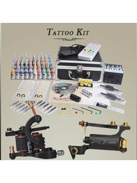 Complete Tattoo Kit With Handmade Rotary Tattoo Machine With Lcd Power Pack 40 Inks Diy 117