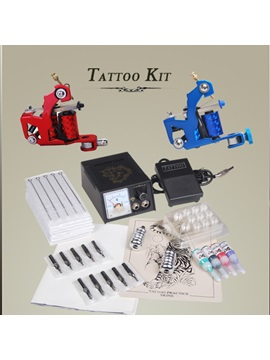 Tattoo Kit With 2 Machines Gun 4 Ink Grip Needles New Diy 136